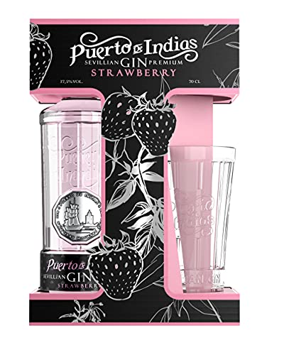 Gin Puerto de Indias - Pack Gin Strawberry Premium + Vaso de Cristal - Ginebra Rosa Premium - Kit Ginebra de fresa con Vaso de cristal- 70 cl - 37.5%