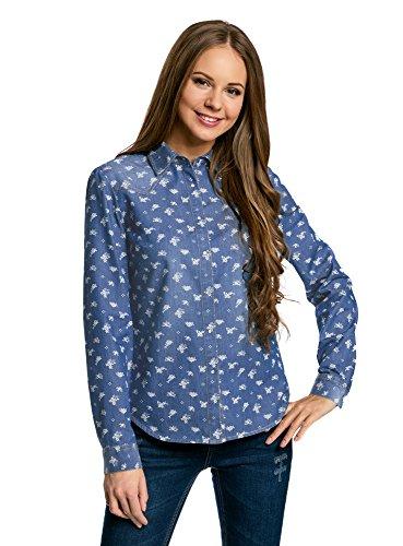oodji Ultra Mujer Camisa Vaquera con Botones a Presión, Azul, ES 34 / XXS