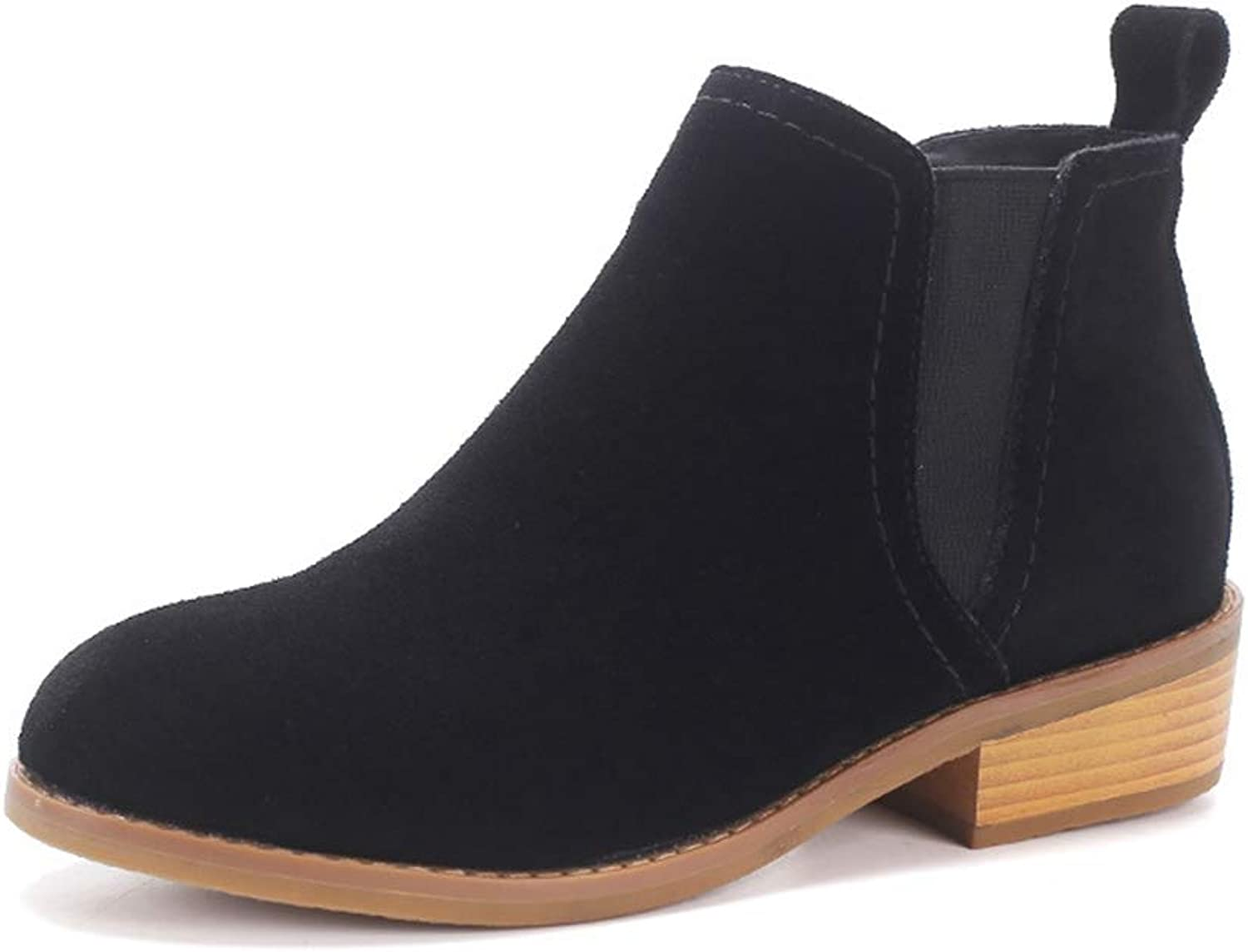 GIY Women's Suede Ankle Booties Winter Classic Pump Short Ankle Boots Causal Closed Toe Stacked Heel Chelsea Boots