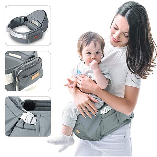 Portabebés SUNVENO para Bebé, Asiento Ergonómico de Cintura para Cadera con Descompresión, Porta-tejidos Blandos de Tela Ligera Certificada para Recién Nacidos, Niños Pequeños, Niños, 6-38 lbs, Gris