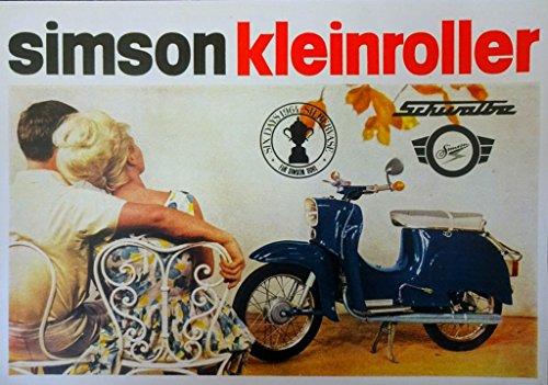 Schönes Kult Prospekt SIMSON Schwalbe 3,4 PS Modell KR 51 - DDR STIL 1965 VEB SUHL