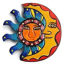 Sun And Moon Wall Decor, Outdoor Wall Decor, Metal Art, Mexican Wall Art, Celestial Decor, Sun Decor, Outdoor Wall Art, Sun And Moon Decor, Moon Decor, Mexican Decor, Moon Wall Decor 8.25in.