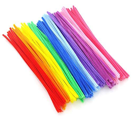 KIICN 100 peças de limpadores de cachimbo de cores aleatórias, hastes de chenille para projetos de artes e artesanato e decorações, cor clara (0,5 x 11,8 polegadas)