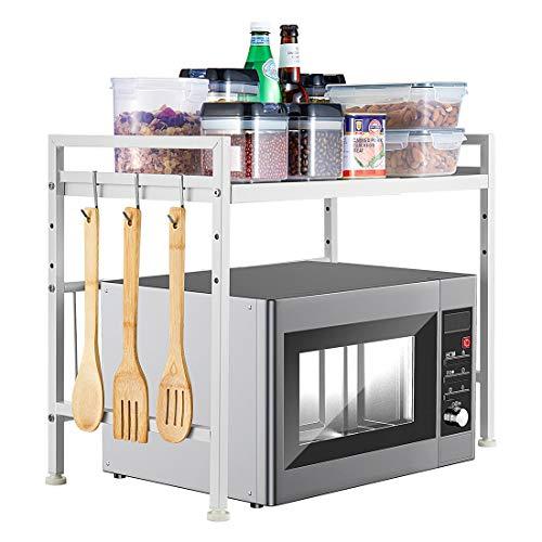 i BKGOO Rejilla Para Horno Microondas Extensible de Metal Blanco Tipo H Suministros de Cocina Mostrador de Almacenamiento de Vajilla Soporte de Acero al Carbono Para 2 Niveles con 3 Ganchos