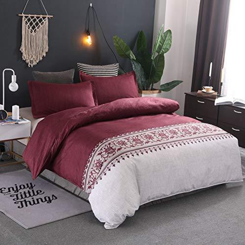 QIAOJIN Juego de ropa de cama vintage Ethno, bohemio, microfibra con estampado de flores, funda nórdica y funda de almohada, rojo, azul, marrón, gris y lila, con cremallera (b,150 x 200)