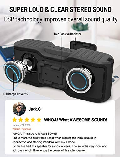 Bluetooth Speakers, Portable Wireless Speaker with Loud Sound, IPX7 Waterproof, 20 Hours Playtime, 99ft Bluetooth Range & Built-in Mic, Perfect for Home Party, Beach,Shower