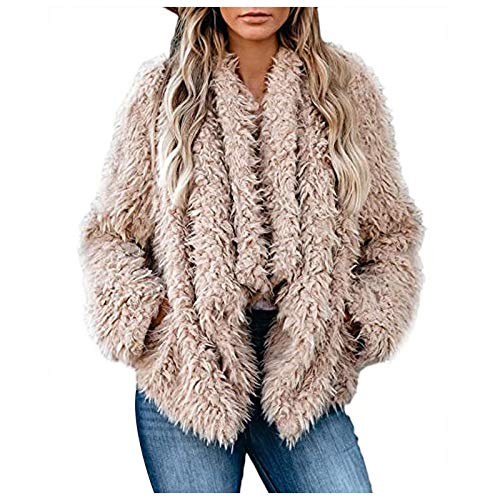 HFStorry Womens Loose Solid Color Long Sleeve Warm Plush Short Jacket Women's Autumn Winter Cropped Jacket