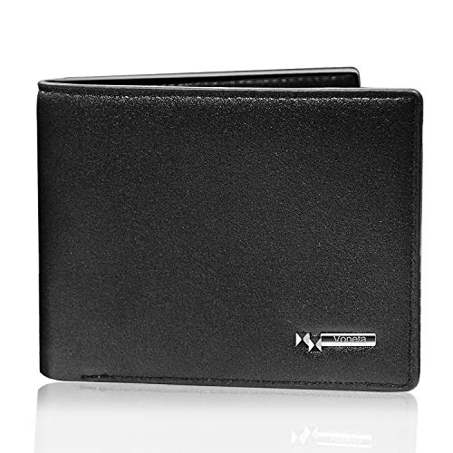 Mens Wallet RFID Blocking Leather Wallet | Voneta RFID Wallet for Men| RFID Trifold Wallet Men | Credit Card Protector Purse Men Credit Card Holder 9 Card Slots 1ID Window (Black)