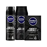 Nivea Deep Impact Shaving Foam, 200ml and After Shave Lotion, 100ml with Shampoo, 250ml