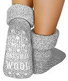dunaro 2 Paar ABS Anti Rutsch Socken Wollsocken Stoppersocken Noppensocken Damen und Herren (1 Paar / 39-42 grau)