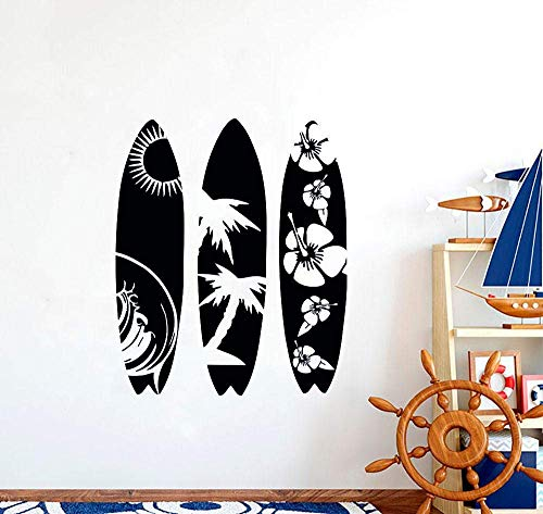 57X68Cm Tabla De Surf Calcomanía Removible Waves Sea Beach Para Guardería Niños Dormitorio Material De Pvc Papel Tapiz De Vinilo Arte Pegatinas De Pared Mural A Prueba De Agua Home Deco