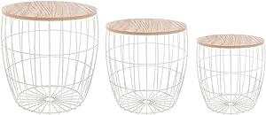 Set di 3 tavolini bassi sovrapponibili con funzione di contenitori - Stile scandinavo - Colore: BIANCO
