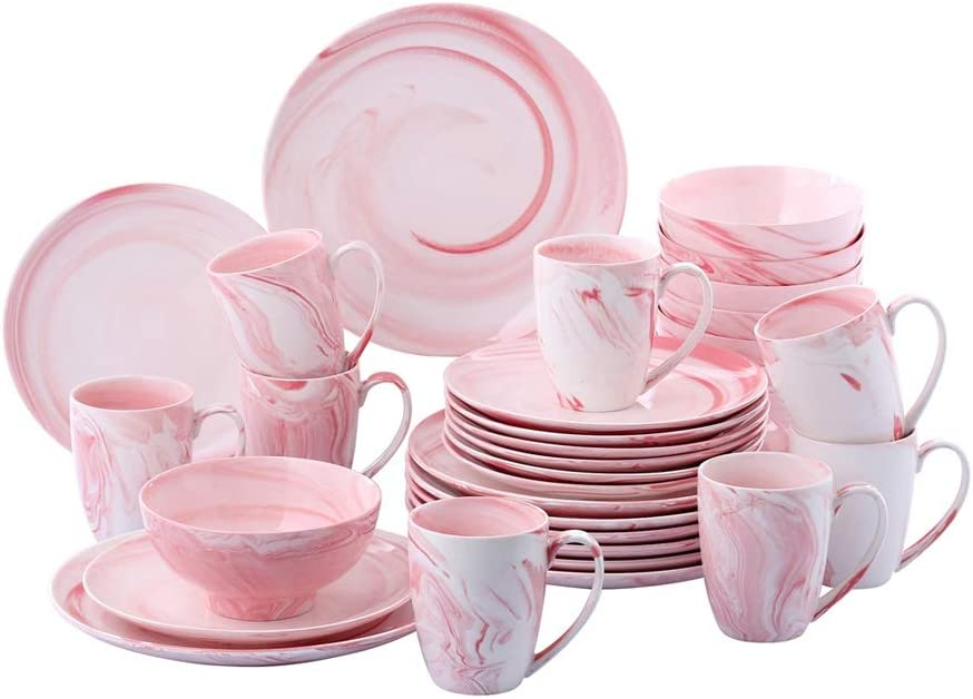 UXZDX CUJUX 32-Piece Pattern Max 49% National products OFF Ceramic Porcelain Plate Dinnerware