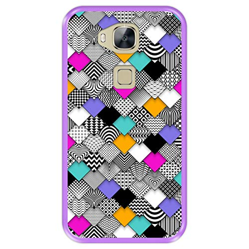 Funda Morada para [ Huawei G8 - GX8 ] diseño [ Abstracto, Mosaico geométrico Moderno ] Carcasa Silicona Flexible TPU