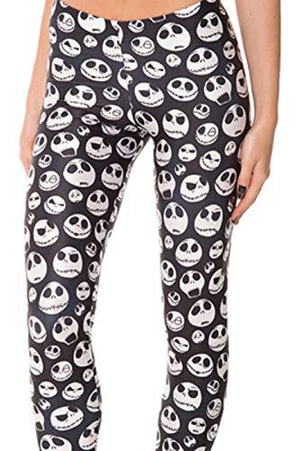 QZUnique Women's Black and White Skull Print Ankle Length Footless Elastic Leggings Yoga Pants One Size