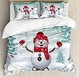 KIMDFACE Juego de Funda nórdica navideña,montaña Cubierta de Nieve abetos y Actividad de Vacaciones Divertidas de muñeco de Nieve de esquí,Juego de Cama Decorativo Blanco