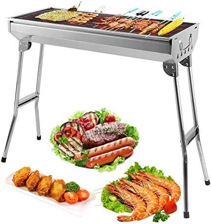 Barbacoa con parrilla, para carbón, profesional, para 5-10 personas, plegable, para picnic con los amigos, reuniones familiares en el balcón y jardín, ...