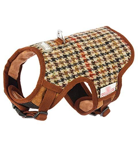 TWQ Arnés de tracción para mascotas, material de lana a prueba de explosiones, chaleco de celosía marrón seguro para mascotas, adecuado para perros pequeños y medianos marrón-S