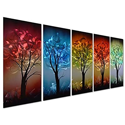 """Pure Art from Dusk til Dawn Multi-Colored Tree Metal Wall Art, 3D Wall Art for Modern and Contemporary Decor, Decorative Hanging in 5-Panels Measures 24""""x 64"""", Works for Indoor and Outdoor Settings from Pure Art LLC"""