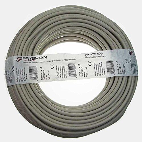Kabel NYM-J 3x1,5 PVC-Mantelleitung grau (50m Ring)