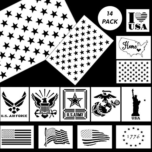 American Flag Stencil Templates - 14 Pack 50 Stars Stencils(Map Flag Marine Corps Army Air Force) Reusable Plastic Stencils for Painting on Wood & Wall DIY Drawing