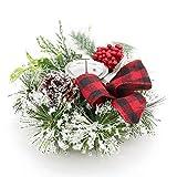Navidad Portavelas, Escarchado Abeto Anillos de Vela con Candelabro Decorativo Bayas Rojas...