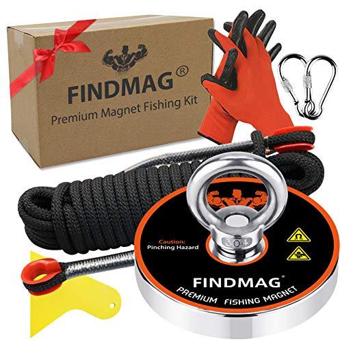 FINDMAG 1500 Pfund (680 KG) Zugkraft Magnet Angelset mit Etui, Magnete Stark, Neodym Magnet Extra Starker, Magnetfischen Set, Angeln Magnet für Magnetfischen und Bergung im Fluss - Durchmesser 120 mm
