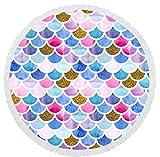 YHZY Serviettes De Plage Imprimées Écailles Colorées Serviette De Plage Microfibre Ronde Tissu Serviettes De Bain pour Salon Maison Décorative 150X150 Cm