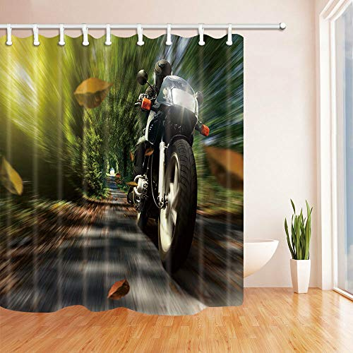 Rose with Dew Shower Curtain Bath Decor Waterproof Fabric &12hooks