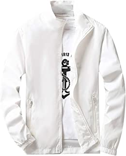 Sunward Men's Sport Jacket Autumn Winter Casual Pure Plus Size Zipper Outdoor Coat