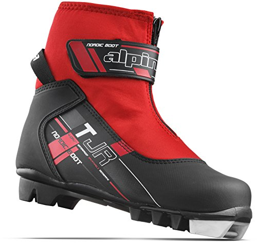 Alpina Sports Youth TJ Touring Ski Boots With Strap & Zippered Lace Cover, Black/Red, Euro 36
