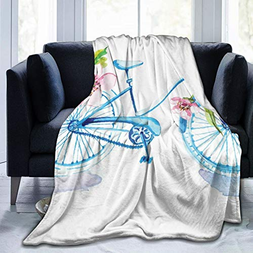 Minalo Personalized Fleece Blanket,Watercolor Bicycle with Flowers Over White,Living Room/Bedroom/Sofa Couch Bed Flannel Quilt Throw Blanket,50'X 60'