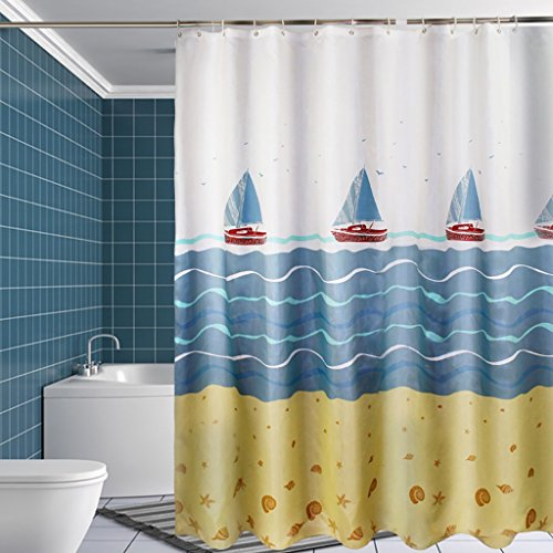 Rideaux de douche Rideau de douche épaissir le rideau de douche imperméable à l'eau de moisissure de polyester de tissu d'hôtel envoient le crochet (L x H cm) Rideaux de douche de haute qualité