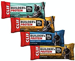CLIF BUILDER'S Protein Bar - Crunchy Peanut Butter, Chocolate Peanut Butter, Chocolate Mint, Cookies and Cream (Variety Pack, 12 Count)