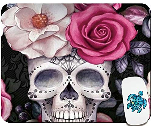 Cute Mouse Pad-Pretty Mouse Pad- Home & Travel Small Mouse Pad with Stickers - Gaming Mousepad with Design for Women & Kids - Skull Rose Customized Mouse Mat for Laptop Computer PC