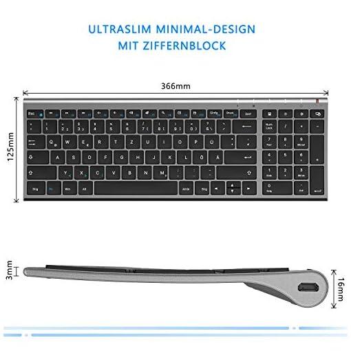 Jelly Comb Teclado inalámbrico con Ratón - Mini teclado ultradelgado inalámbrico 2.4G y Ratón USB recargable para PC… 4