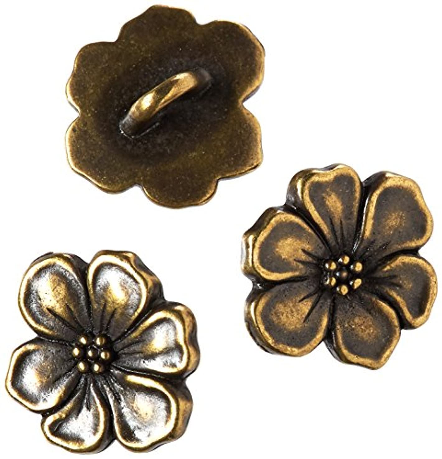 TierraCast Button Apple Blossom, 14mm, Antiqued Brass Oxide Finish Pewter, 3-Pack