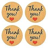 FAVOMOTO 50 Pezzi Adesivi di Ringraziamento Rotolo Adesivi Sigillanti in Carta Kraft per Adesivo Decorativo Imballaggio Aziendale Buste da Regalo Sigillo Matrimonio Baby Shower Bomboniere