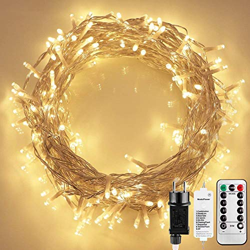Starker 12M 100er LED Lichterkette,Fernbedienung 8 Modi Kupfer kunststoff Lichterketten,TIMER-Funktion Dimmbar Lichterkette,für Innen und Außen dekoration,Hochzeiten -Warmweiß