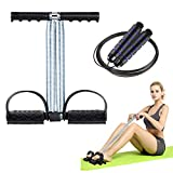 SKL Pedal Resistance Band Tension Rope Fitness, Dual Spring Elastic Pull Rope with Jump Rope for Abdomen, Waist, Arm, Leg, Yoga Stretching Slimming Training, Sit-up Fitness Equipment for Home Workouts