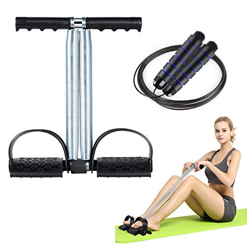 Sit up Trainingsgerät mit Pedal Widerstandsband Tension Rope Widerstandstraining Fitness, Elastische Zugseil, Bodybuilding Expander Stretching Beintrainer Bauchtrainer Trainingsgerät Resistanceband
