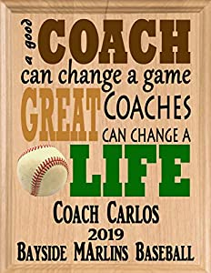 This PERSONALIZED Baseball Coach Gift Is Proudly Crafted in The United States From Solid Maple Wood! The Perfect Baseball Coaches Gift That Will Be Cherished As A Sincere Thank You Keepsake For Years To Come. The Unique Personalized Baseball Coach Ap...