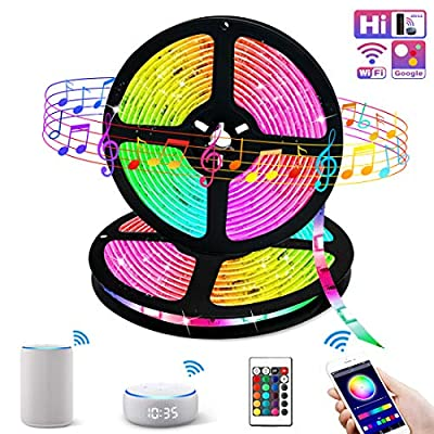 Smart WiFi LED Strip Lights Works with Alexa,32.8ft Color Changing Sync to Music Mood Lighting Tape Lights,16 Million RGB SMD 5050 Flexible Rope Light for Bedroom, Kitchen, TV, Party for iOS&Android