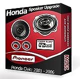 Pioneer Honda Civic Altavoces de Puerta Frontal Altavoces de Coche + Anillos Adaptadores Pods 250W