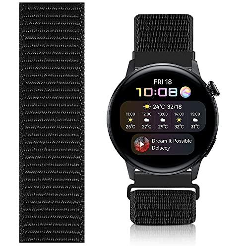 Niboow 22mm Solo Loop Armband Kompatibel mit Huawei Watch 3, Nylon Ersatzband für Huawei Watch 3 Pro/Huawei Watch GT 2 46 mm/Huawei Watch GT 2e/Huawei GT2 Pro/Honor GS Pro/Huawei Watch GT-Schwarz