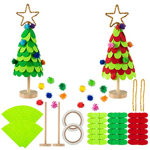 Biubee Set of 2 Mini Felt DIY Christmas Tree Sets- 8 Inch DIY Home 3D Xmas Tree Ornaments Decoration in 2 Kids Christmas Tree Craft Kits for Christmas New Year Home Decor