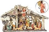 PEARL Krippen: Weihnachtskrippe aus Polyresin mit 11 handbemalten Figuren (Krippe mit Figuren)
