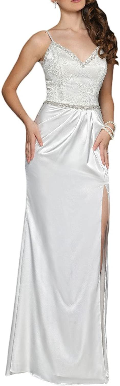 MILANO BRIDE Sexy Evening Dress Prom Gown Vneck Spaghetti Backless Split Crystals