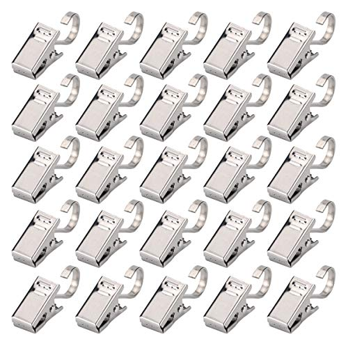 Kakuu 100Pcs Stainless Steel Heavy Duty Satin Nickel Curtain Clips for Curtain,Home Decoration,Art Craft Display,Photos,Outdoor Activities Supplies (Sliver)