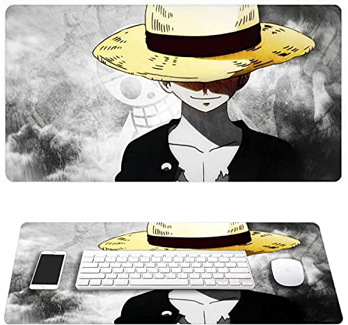 Anime Mouse Pads One Piece Large Gaming Mouse Pad Mat, Non-Slip Waterproof Rectangle Mousepad with Stitched Edges for Office Home 29.5' x 15.7' x 0.12'